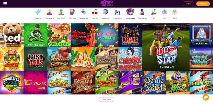 Online krasloten aanbod van Boo Casino
